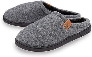 Dunlop Mens Slippers Finlay Slip On Mule Faux Fur Lined Felt Memory Foam Size 7-12