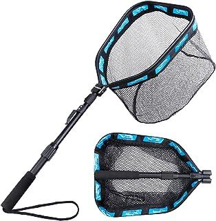 PLUSINNO Floating Fishing Net for Steelhead, Salmon, Fly, Kayak, Catfish, Bass, Trout Fishing, Rubber Coated Landing Net f...