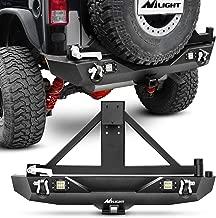 Nilight JK-53A Rear Bumper & Spare Tire Rack & Hitch Receiver w/2 LED Lights Compatible JK for 2007-2018 Jeep Wrangler JK & Unlimited
