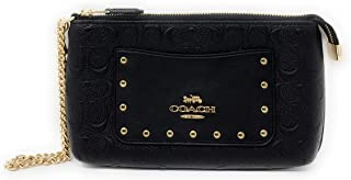 COACH WOMENS LARGE RVT WRISTLET WITH CHAIN IN SIGNATURE LEATHER F76763 BLACK/GOLD