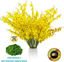 FIFTH EDEN Lifelike Artificial Flowers Set: 12 Silk Flowers Artificial for Decoration: Adjustable for Beautiful Faux Flowers Arrangements: Yellow Face Orchid Flowers and Green Moss