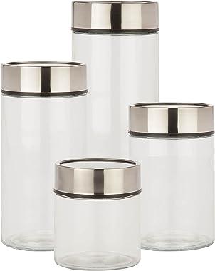 Honey-Can-Do KCH-06481 4-Piece Date Dial Jar Set, 1350 mL - 3000 mL Capacity, Black/Clear