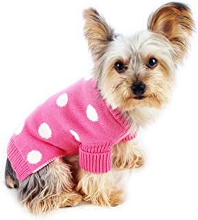 Stinky G Aqua Blue Dog Pet Sweater with Green Polka Dot