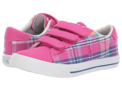 Polo Ralph Lauren Kids Easten II EZ (Little Kid) (Sport Pink/Madras Plaid/Canvas/White Pony) Girl