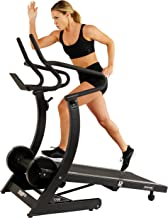 Sunny Health & Fitness 7700 Asuna High Performance Cardio Trainer, Manual Portable Treadmill with Heavy Duty Designed Dual Flywheels, Brown/A