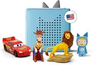 toniebox Blue Starter Set Bundle - Includes Creative, Woody from Toy Story, Simba from Disney's The Lion King, and Lightni...