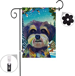 """Pinata Schnauzer Dog Garden Flag Sets,Double Sided and Burlap Animal Flags with a Rubber Stopper Stop and a Anti-Wind Clip,12""""x18"""""""