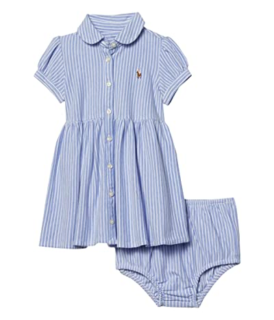 Polo Ralph Lauren Kids Striped Knit Oxford Dress (Infant) (Harbor Island Blue/White) Girl