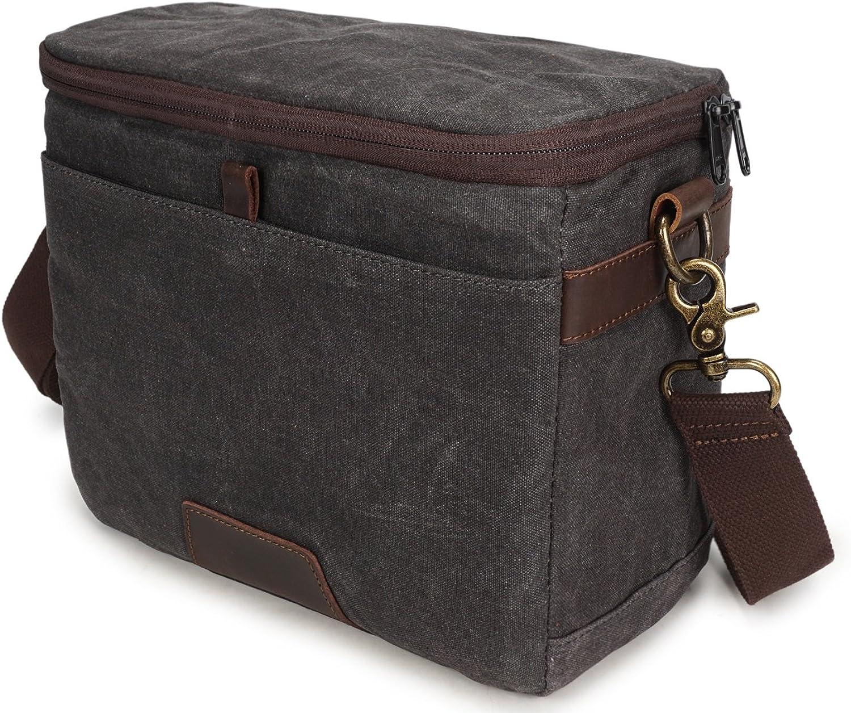 Men's Cross Style Camera Bag Casual Shoulder Bag Batik Canvas with Crazy Horse Bag SLR Waterproof Camera Bag (color   Brown, Size   M)