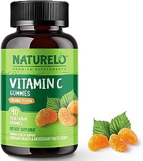 NATURELO Vitamin C Gummies Orange Flavor – Non-GMO, Natural, Delicious – 375 mg VIT C per Serving – Supplement for Immune ...