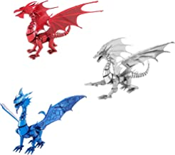 Fascinations Metal Earth ICONX 3D Metal Model Kits Dragon Set of 3 - Silver - Blue - Red