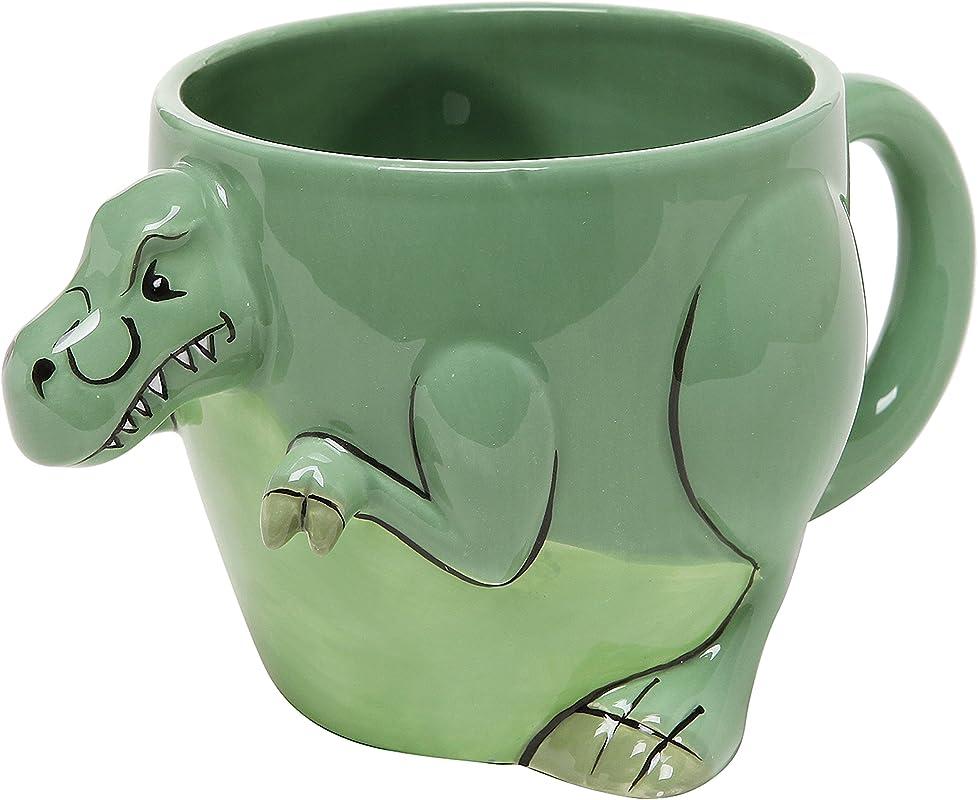 3 D Shaped T Rex Dinosaur Design Ceramic Mug Novelty Cup Decorative Drinkware Green MyGift Home