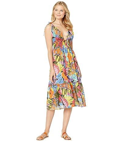Polo Ralph Lauren Batik Floral Midi Dress (Multicolored) Women
