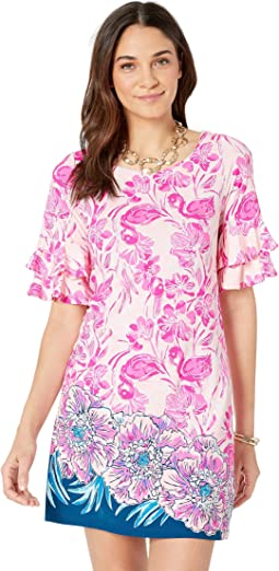 2a7c207f022751 Coral Reef Tint Flamingle Engineered Dress Front. Lilly Pulitzer
