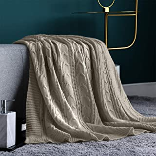 Jinchan Throw Blanket Gray Lightweight Cable Knit Sweater Style Year Round Gift Indoor..