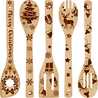 5 Pieces Christmas Wooden Spoons Set Burned Cooking Utensil Spoon Christmas Kitchen Decoration for Christmas Gift House Present Supplies