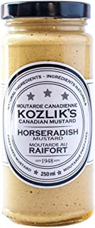 Kozliks Horseradish Hot Spicy Brown Yellow Dijon Natural Gluten Free Non-GMO Mustard, 8.5oz Jar