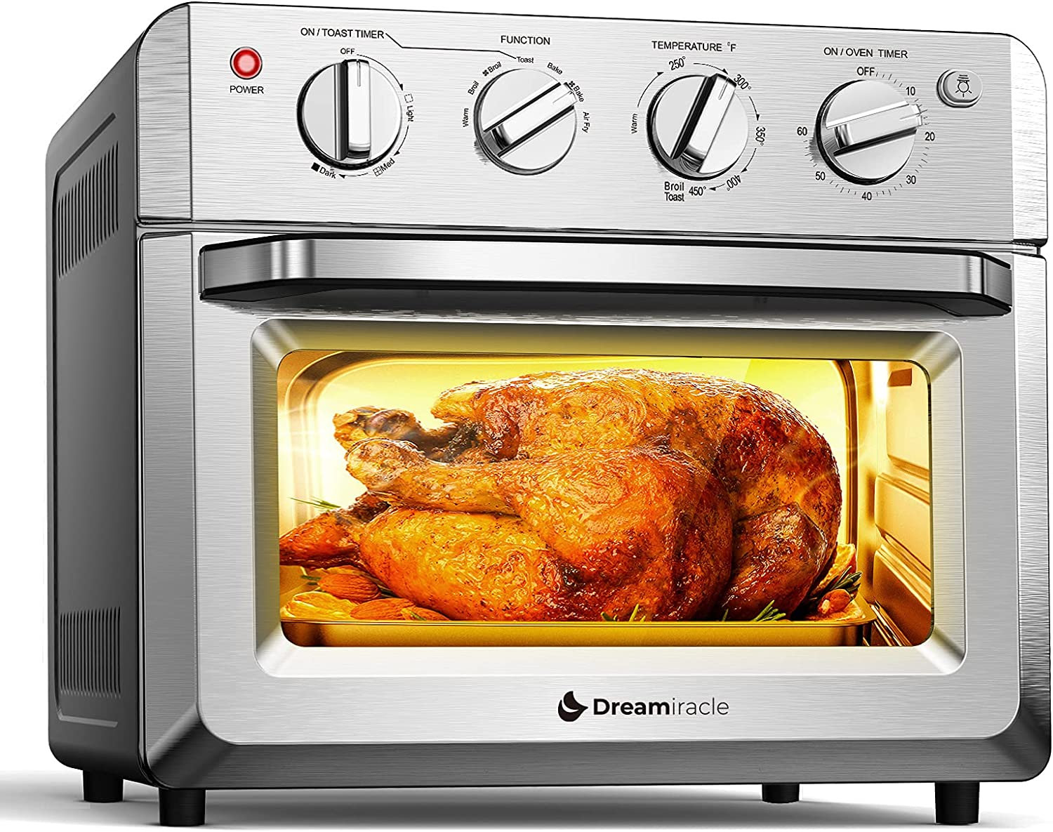Dreamiracle Air Fryer Toaster Oven Combo 21 Quart 7-in-1 Countertop Dehydrator for Chicken, Pizza, Cookies, 1550W, 4 Accessories Included, Easy to Control with Timer Bake Broil Toast Setting, 6-Slice
