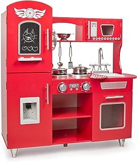 comprar comparacion Leomark Big Red Grande Cocina Madera Infantil De Juguete - Color Rojo - Accesorios, para Niños, Cocinita con teléfono, Nev...
