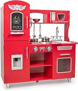Leomark Grande Rojo Cocina Madera Infantil Cocina De Juguete Accesorios para Niñas Cocinita Retro Grifo Fregadero Cubiertos De Madera Utensilios De Cocina Estilo Escandinavo Big Red