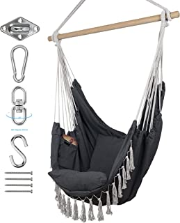 KOMOREBI Hammock Chair | Hanging Rope Swing for Indoor & Outdoor | Soft & Durable Cotton Canvas | 2 Cushions Included | La...