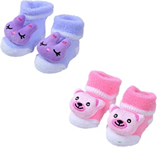 SHOP FRENZY Kids/Infant Booties/Shoes/Socks Cartoon Teddy Bear Printed for Baby Girls/Boys (0-6 Months) (Pack of 2 Pair) Pink