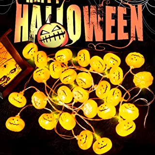 Halloween String Lights, Orange Pumpkin Light with 20 LED, Battery Operated Halloween Lights for Outdoor Indoor Decorations, Lights String for Halloween Party, Path Lights, Window Wall Decor Lights