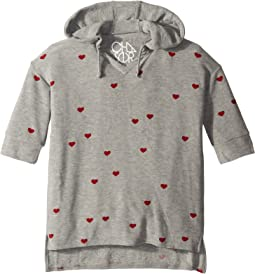 Extra Soft Tiny Hearts 3/4 Sleeve Pullover Hoodie (Little Kids/Big Kids)