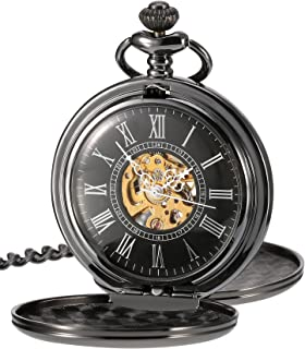 Mudder Smooth Double Cover Antique Skeleton Mechanical Pocket Watch Xmas Wedding Birthday Gift