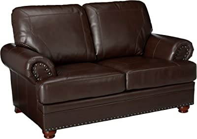 Tremendous Amazon Com Furniture Of America Carson Leather Loveseat In Ibusinesslaw Wood Chair Design Ideas Ibusinesslaworg