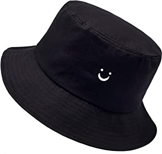 Smile Face Hat Summer Travel Bucket Beach Sun Hat Night Call Embroidery Visor Outdoor Cap