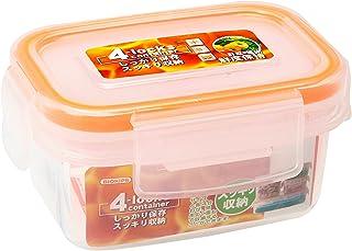 ストリックスデザイン 4点ロック 密封 保存容器 4lockscontainer 本体:半透明 パッキン:オレンジ 180ml 長方形 野菜果物の呼吸を抑え鮮度劣化を遅らせる CEMバイオ処理加工 HT-115