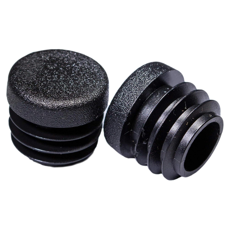 Round Plastic Plug 1 Inch Riccioofy 20Pcs Tubing Plug Cap Tubing End Cap/Chair Glide Insert Finishing Plug Black