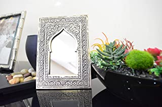 Gift Ideas for Women Mirror Clearance Handmade Mirror covered Silver Metal Engraved by Hand 6.7 Inch on 4.7 Inch Hanging Moroccan Wall Decor Perfect Piece for Home Design Handbag Mirror for Makeup
