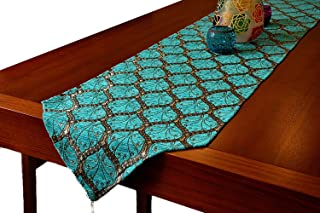 Gold Case Table Runner 69x14(175cm x 37cm) Luxury Peacock Series (Blue)