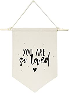 The Cotton & Canvas Co. You are So Loved Hanging Wall Canvas Banner for Baby Girl, Baby Boy, Nursery, Teen and Kids Room