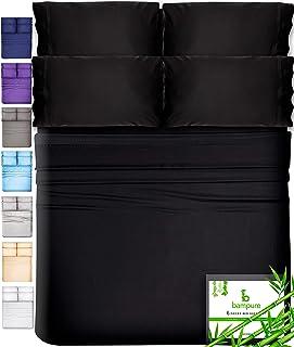 6 Piece Bamboo Sheets King Size Sheets - 100% Organic Bamboo King Sheets Cooling Sheets King Deep Pocket King Bed Sheets King Size Sheet Set King Size Bed Sheets Extra Deep Pocket King Sheets Black