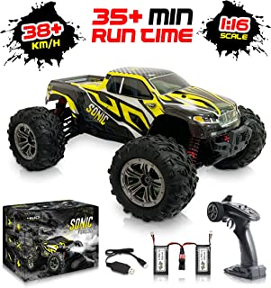 1:16 Scale Large RC Cars 36+ kmh Speed - Boys Remote Control Car 4x4 Off Road Monster Truck Electric - All Terrain Waterproof Toys Trucks for Kids and Adults - 2 Batteries + Connector for 30+ Min Play