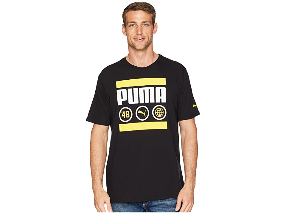 PUMA Bar Tee (Puma Black/Spectra Yellow) Men
