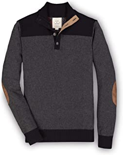 Men's Long Sleeve Pieced Mock Neck Sweater with Elbow...