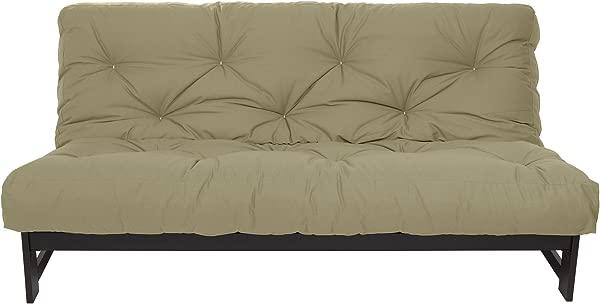 Mozaic Queen Size 8 Inch Cotton Twill Gel Dual Memory Foam Futon Mattress Khaki