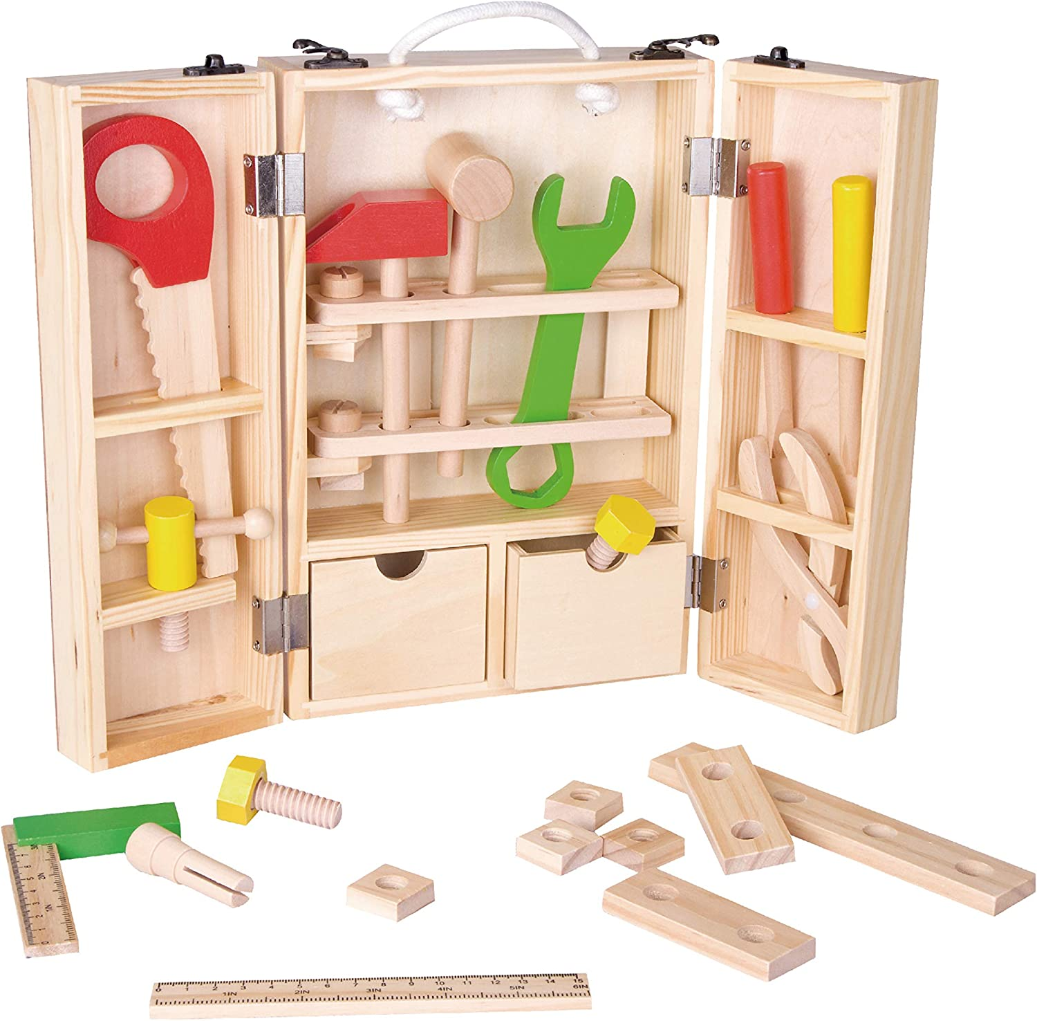 Classic World 35Pcs Wooden Tool Box Wood Co Time sale Outlet SALE Solid with