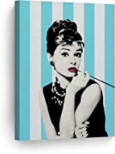 Smile Art Design Audrey Hepburn Breakfast at Tiffany`s Movie Blue and White Striped Background Canvas Print Art Modern Wall Decor Bedroom Living Room Wall Art Ready to Hang Made in The USA 12x8