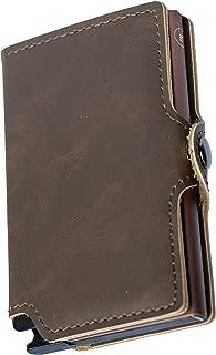 Mini Wallet | Carteira de alumínio e couro| Chocolate marrom