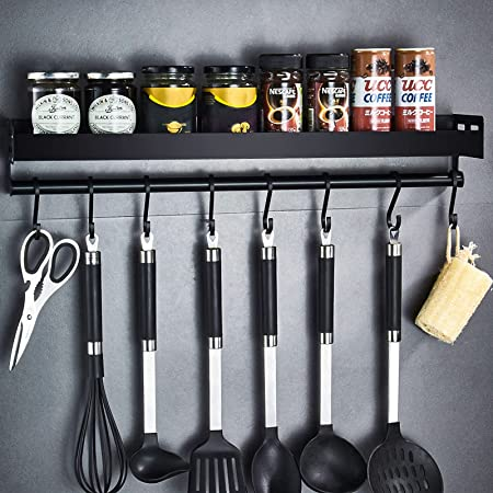 Amzeeniu Étagère de Cuisine Murale Sans Perçage,Porte Serviette Mural d'épices,Porte-épices,étagère de cuisine,6 crochets amovibles pour le couloir de la salle de bain de la cuisine(black)