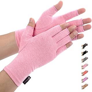 Duerer Arthritis Gloves Women Men for RSI, Carpal Tunnel, Rheumatiod, Tendonitis, Fingerless Hand Thumb Compression Gloves Small Medium Large XL for Pain Relief (Medium, Black) (Pink, S)