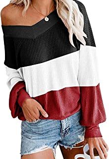 UGET Women's V Neck Long Sleeve Waffle Knit Top Off Shoulder Pullover Slouchy Sweater