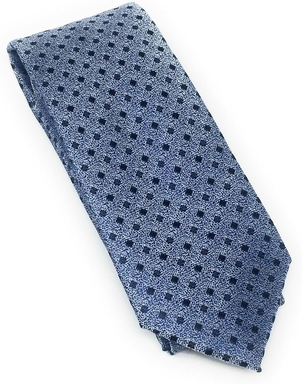 Demin Blue & Navy Diamond 100% Silk Woven Necktie Set with Pocket Square