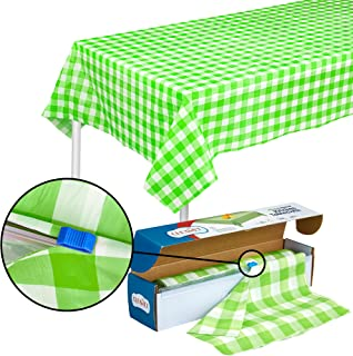 Green Gingham Plastic Tablecloth Roll With Cutter, 100' x 52
