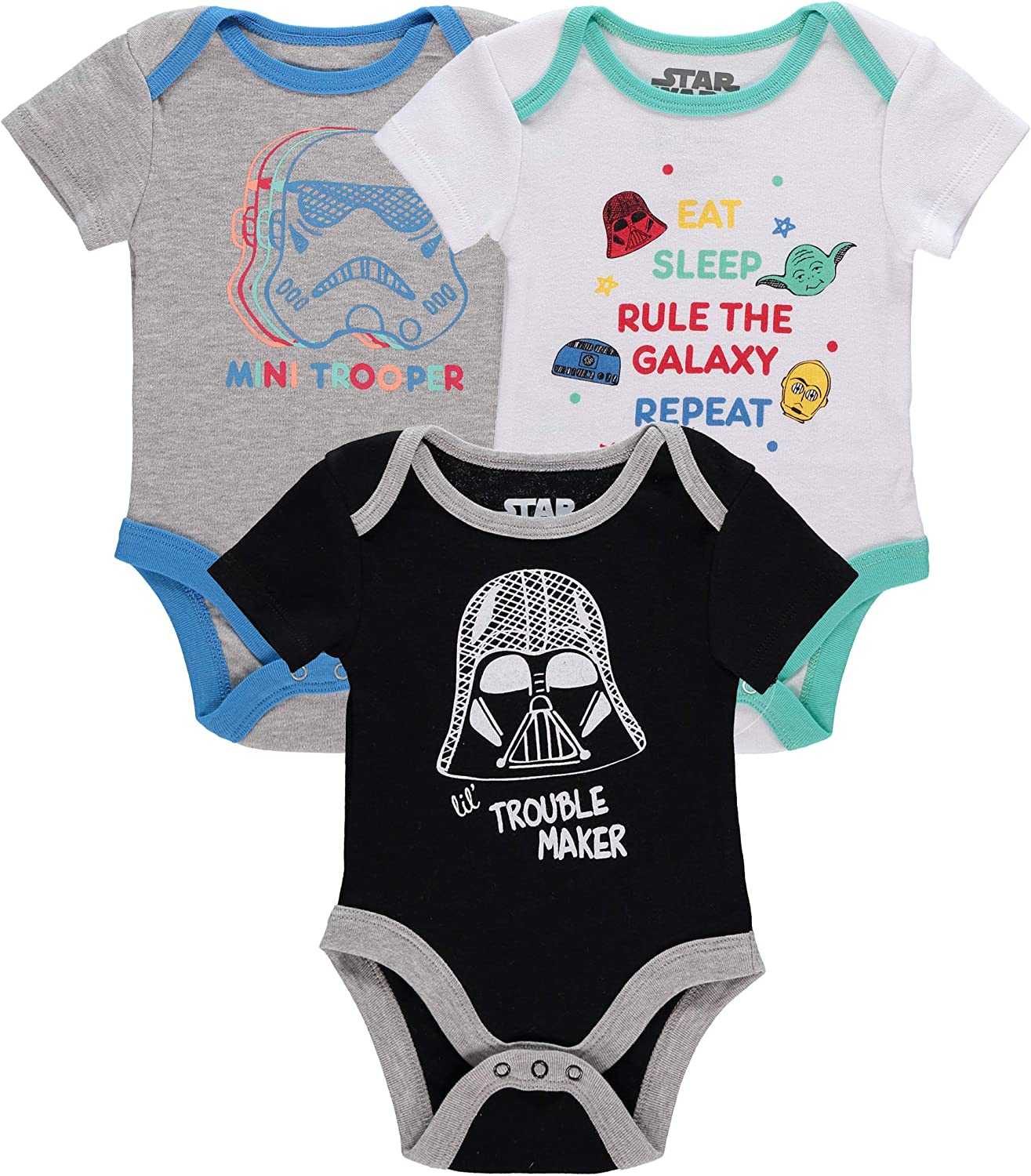 Disney baby-boys 3 Pack Star Wars Creeper Onesies Bodysuits: Clothing, Shoes & Jewelry